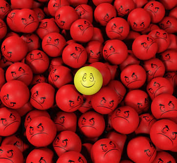 Smile among angry faces